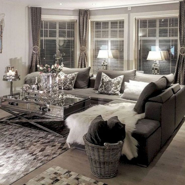 Grey sectional-46 Amazing Small Living Rooms Ideas With Farmhouse Style 38 - TOPARCHITECTURE