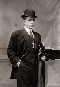 Well Dressed Young Man with Dark Suit and Bower Hat http://www.vintagedancer.com/1920s/advice-for-mens-1920s-clothing-plan/