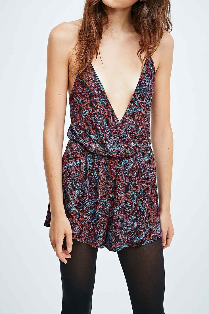 Ecote Tina Tie-Back Playsuit in Paisley