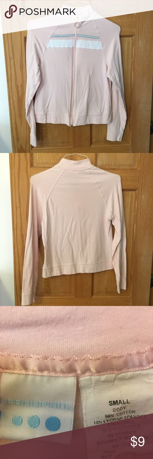 Light pink with white and grey stripes zip up Light pink with white and grey stripes zip up. Gently used, great condition. Smoke free home. prospirit Tops