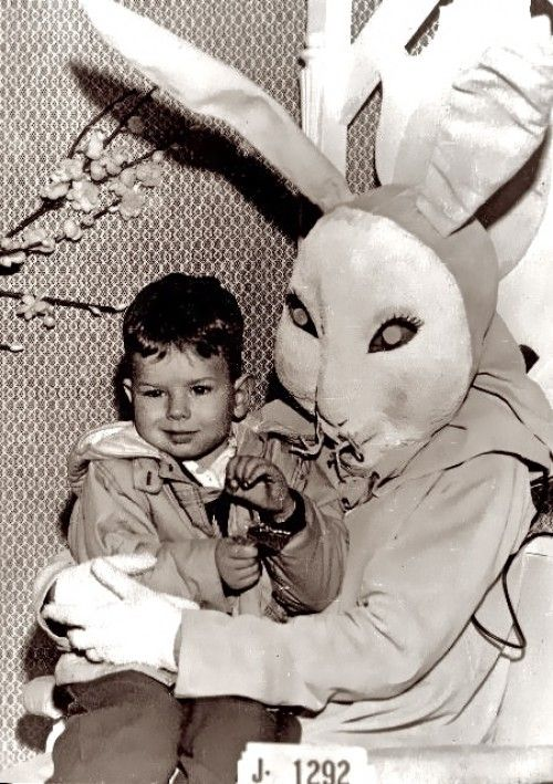 This little tyke's twitch is a result of the hypnotic trance put on him by this creepy space bunny.