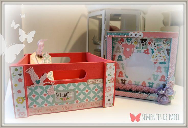 Sementes de papel: Caja decorada para complementos de bebé.