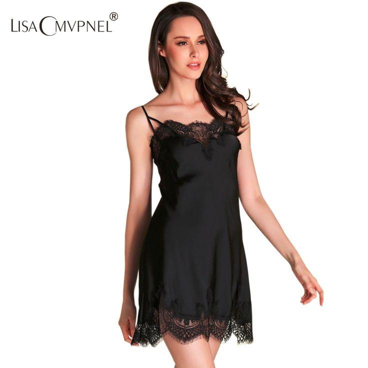 Lisacmvpnel wysoka jakość marka kobiety koronka sexy specjalne spaghetti pasek koszula nocna faux jedwabiu kobiet bielizna nocna salon