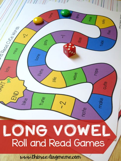 Long Vowel Roll and Read Games ~ 5 FREE long vowel games included ~ these make a great before reading activity! | This Reading Mama