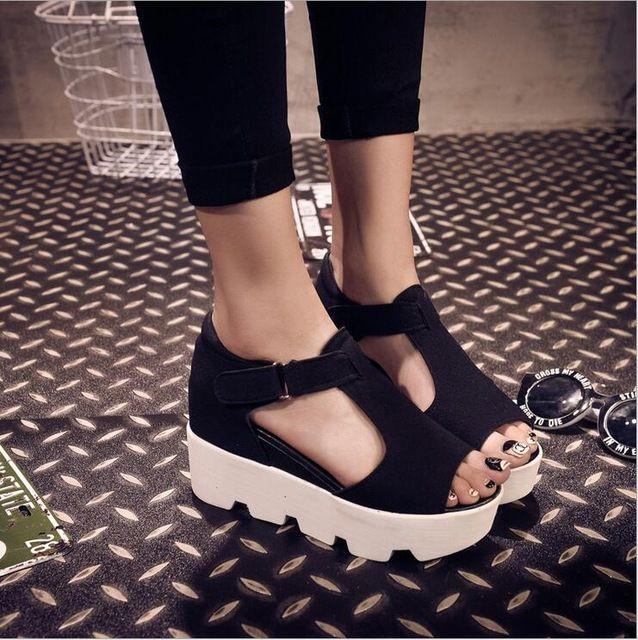 Estilo del verano 2016 sandalias de la plataforma zapatos mujer zapatos de tacón zapatos casuales punta abierta plataforma gladiador Trifle sandalias mujeres ShoesD213