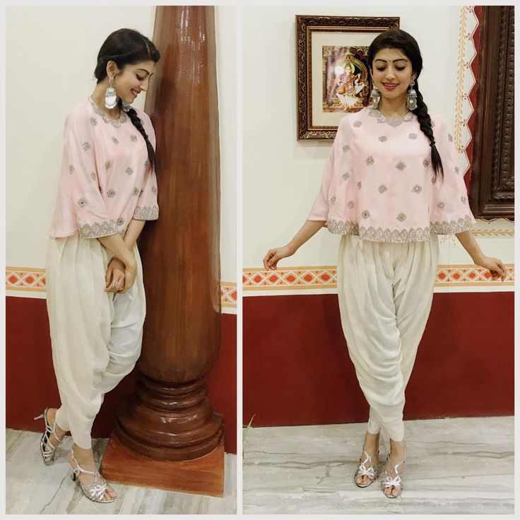 Pranitha Subhash in white color dhoti pants and pink color cape.styled by Anahita. 04 August 2017