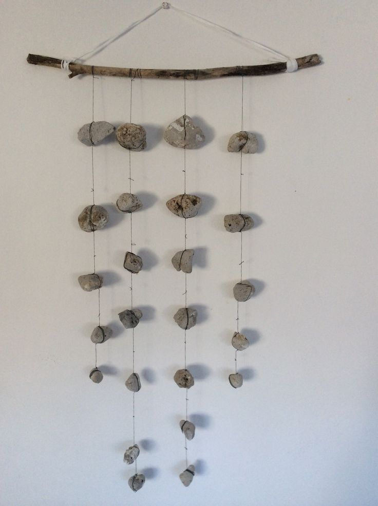 Hanging art - pumice stones and driftwood