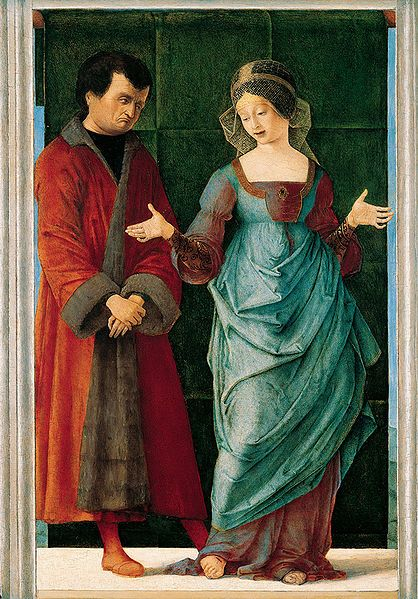 Northern Italian Art - Portia and Brutus 1486-90 Love the color combination, the proto-balzo, and the shot silk under gown