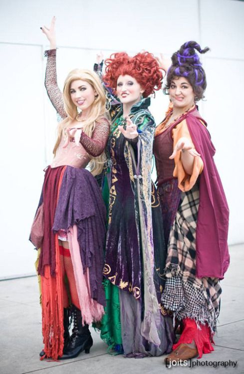 cosplayadoration:  Hocus Pocus. /Costumes:Castle Corsetry/Models:Birds of Playas Winifred and Sarah Sanderson,Chrissy Lynnas Mary Sanderson &Strange Like That Cosplayas Billy Butcherson/Photographer:Joits Photography                                                                                                                                                                                 More