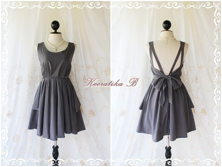 A Party - V Shape Style - Prom Party Cocktail Bridesmaid Dinner Wedding Night Dress Dark Charcoal Gray Sweet Gorgeous Glamorous Dress. $46.30, via Etsy.