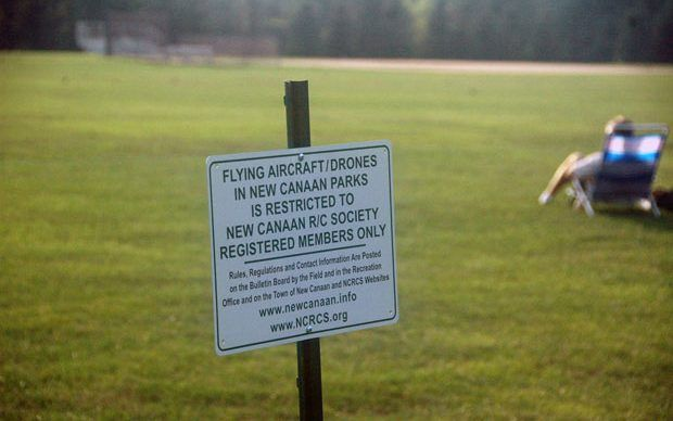 One of the four signs at Waveny Park. — Rich Durazzo, Jr. photo  Read more: http://ncadvertiser.com/83123/all-signs-point-to-drones-flying-at-waveny-park-only/#ixzz4HPcnnFLH  Follow us: @NCAdvertiser on Twitter | NCAdvertiser on Facebook