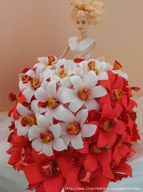 DIY Barbie Chocolate Bouquet dress-03