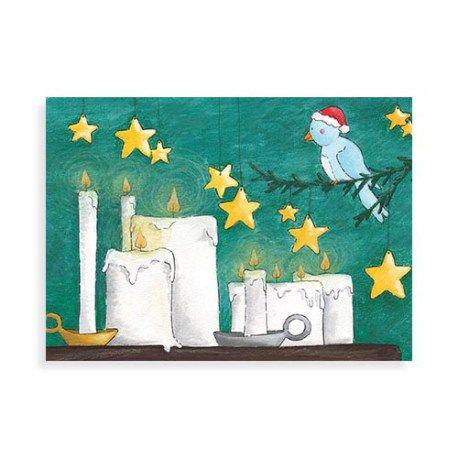 Kerstkaart uit de kalender serie van Illu-Straver. Vogeltjes in december.