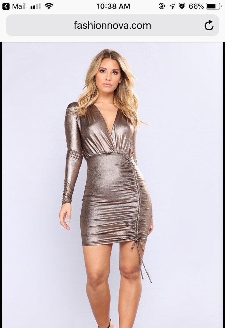 Fashion nova gold metallic dress. Worn ONCE!! You can make