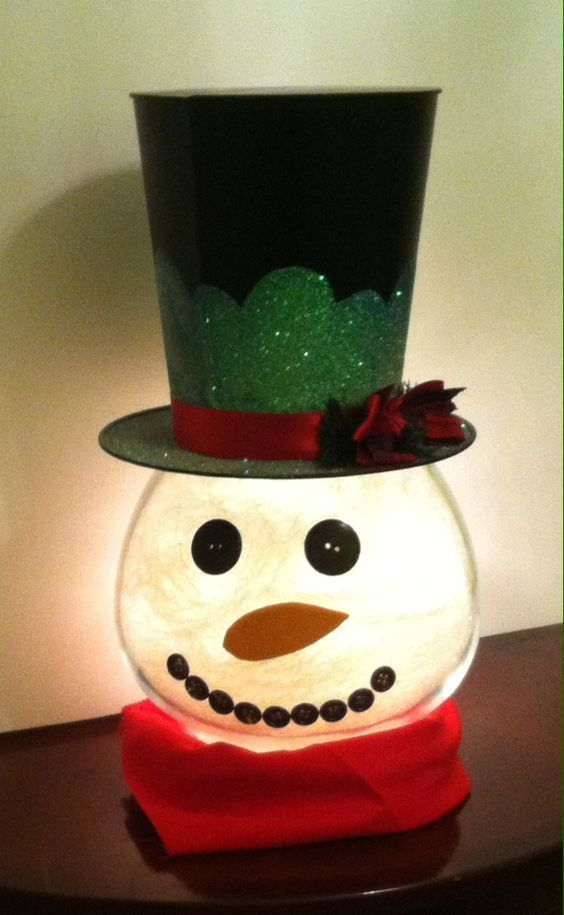 DIY Lighted Fish Bowl Snowman