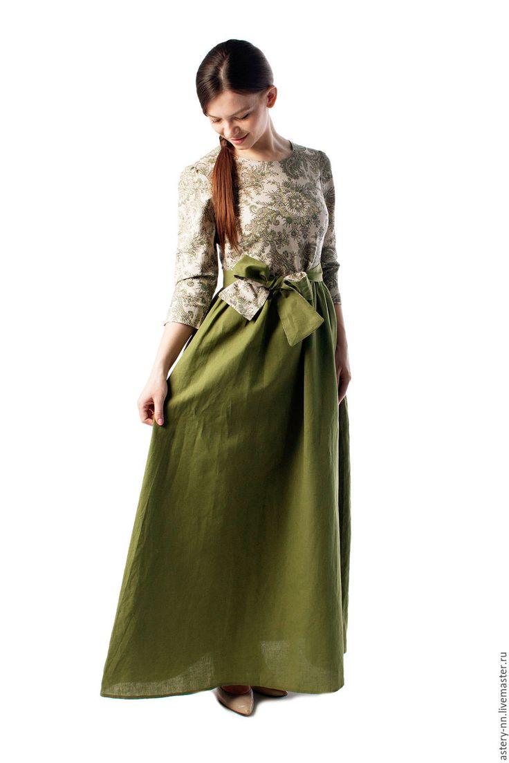 """Купить Платье """"ЛЮБАВА"""" - зеленый, пейсли, платье, Платье нарядное, платье в пол, красивое платье"""