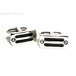 Executive Brake Pedal Cufflinks - Two black enamel lines with fake screw finish at the edges.
