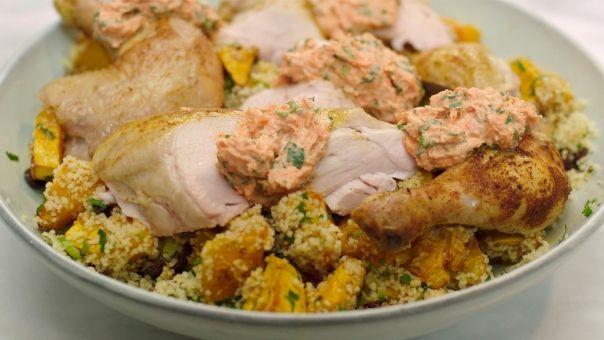 Eén - Dagelijkse kost - Gebraden kip met citroen, worteltzatziki en couscous