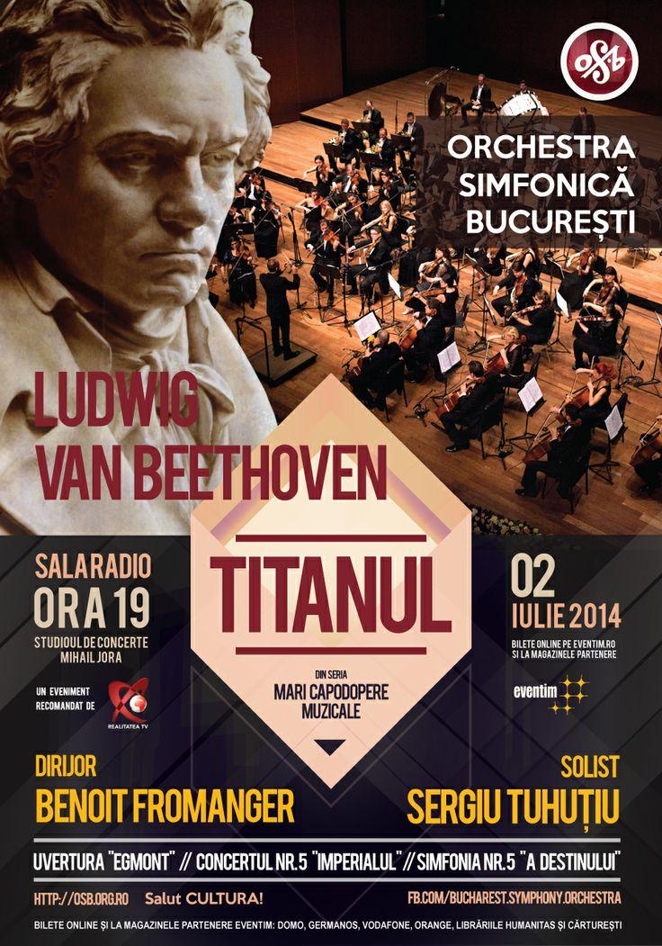 """Dragilor, anunțăm un nou eveniment marca Bucharest Symphony Orchestra: Ludwig van Beethoven - TITANUL. Miercuri, 2 iulie la Sala Radio, începând cu ora 19, vom prezenta primul concert din seria """"Mari Capodopere Muzicale"""" în care pasiunea întâlnește excelența. Veti avea ocazia să ascultati """"Imperialul"""", alături de cei mai buni muzicieni din țară și alte două compoziții beethoveniene legendare, precum """"Simfonia Destinului"""" și Uvertura """"Egmont""""."""