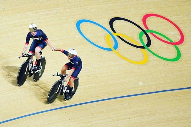 Elinor Barker and Joanna Rowsell-Shand of Great Britain celebrate a world record in the Women's Team Pursuit Track Cycling Qualifying on Day 6. Photo: Getty Images