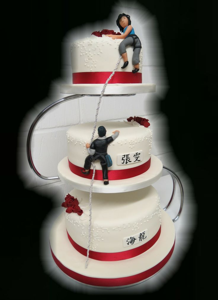 3 Tier Wedding Cake with couple mountaineering