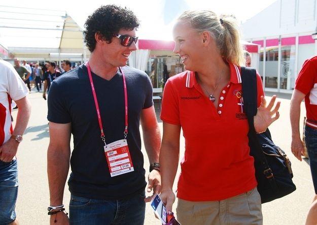 Golfer Rory McIlroy (Northern Ireland) and tennis player Caroline Wozniacki (Denmark)