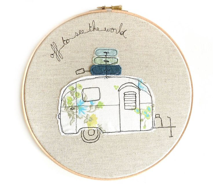 personalised caravan embroidery artwork by three red apples | notonthehighstreet.com