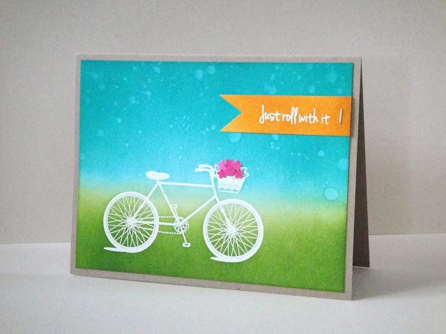 bright and beautiful card ... luv the look of the white embossed bicycle on the green grass and turqoise sky ... orange tag and magenta flowers in the bike basket ... like the use of neutral gray base card for all of this color ...