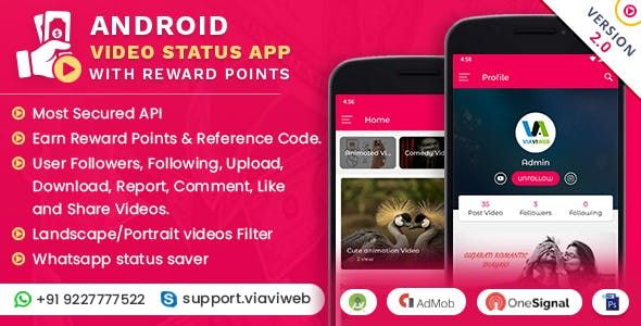 Android Video Status App With Reward Points (Lucky Wheel, WA