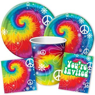 Tie Dye Party Supplies - Groovy! From www.DiscountPartySupppies.com
