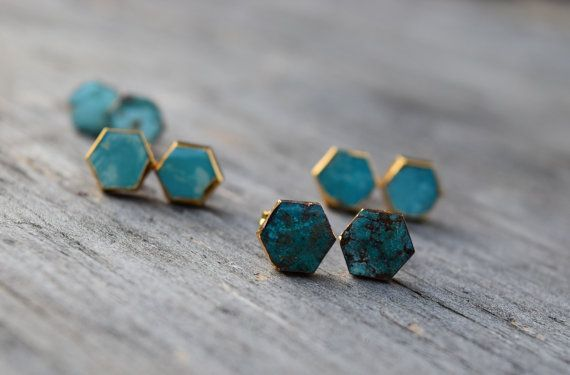 Natural Turquoise Stud Earrings, Hexagon Raw Turquoise Earrings, Boho Chic, Gold Plated Bezel Natural Stone Stud Earrings, Blue Bridesmaid