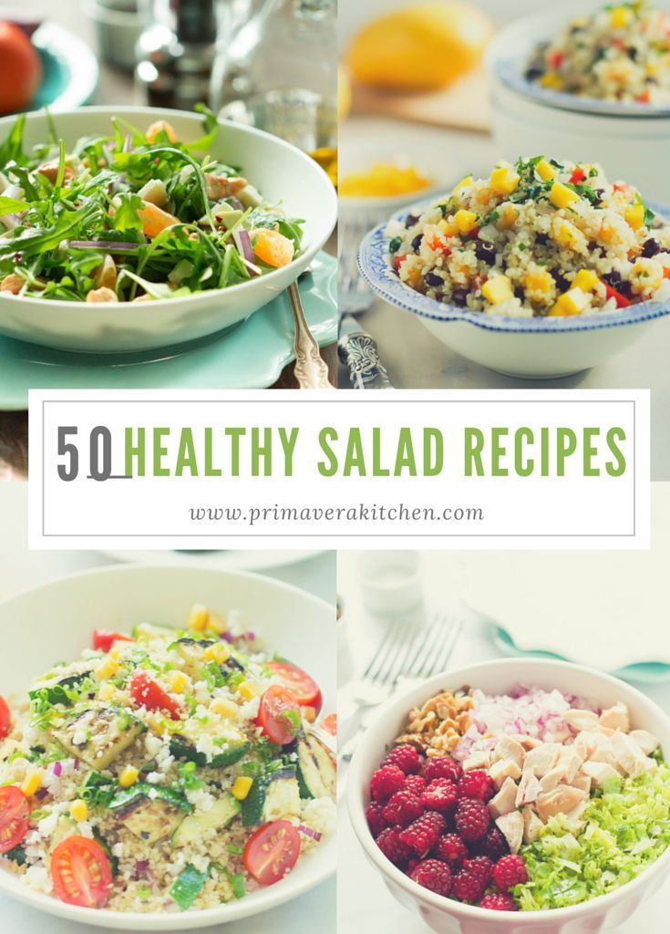 50 Healthy Salad Recipes - This 50 Healthy Salad Recipes post is going to give you a delicious list of gluten free, low carb, vegan and vegetarian salad recipes to help you eat healthier during the entire year. primaverakitchen.com