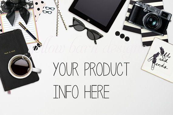 Styled Stock Photography / Black and White Stylized Desktop Theme / Desk w/ Black iPad & Camera / Product Mockup / High Resolution Photo