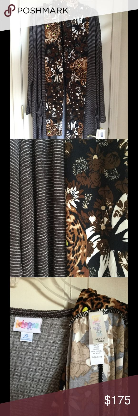 Lularoe NWT Brown Sarah & TC Leopard Cheetah Ugh I'm swimming in the Sarah - set includes unicorn cheetah - leopard Leggings LuLaRoe Pants Leggings