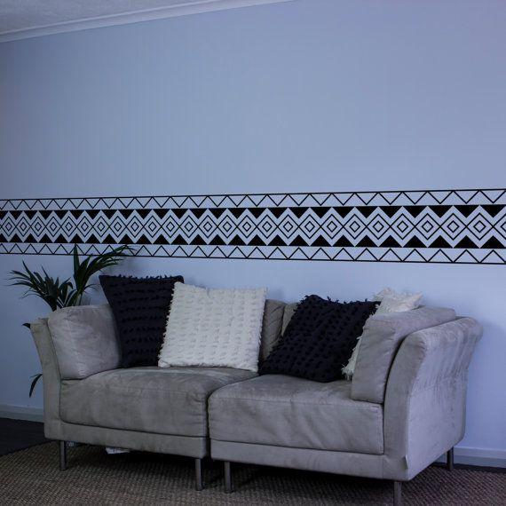 Aztec Diamond Pattern Vinyl Wall Decal Border by VinylRevolution