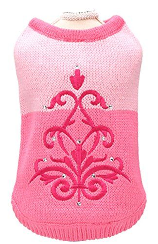 MaruPet Fashion Sweet Puppy Dog Princess Hoodies Pet Flower Dog Knitwear Round Neck Sweater for Chihuahua Tea Cup Poodle Tea Cup Yorkie and Cats Pink S ** You can find out more details at the link of the image.