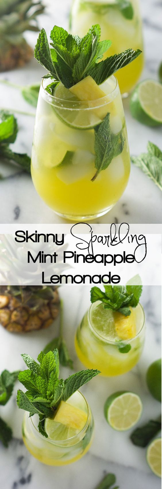 Skinny Sparkling Mint Pineapple Lemonade