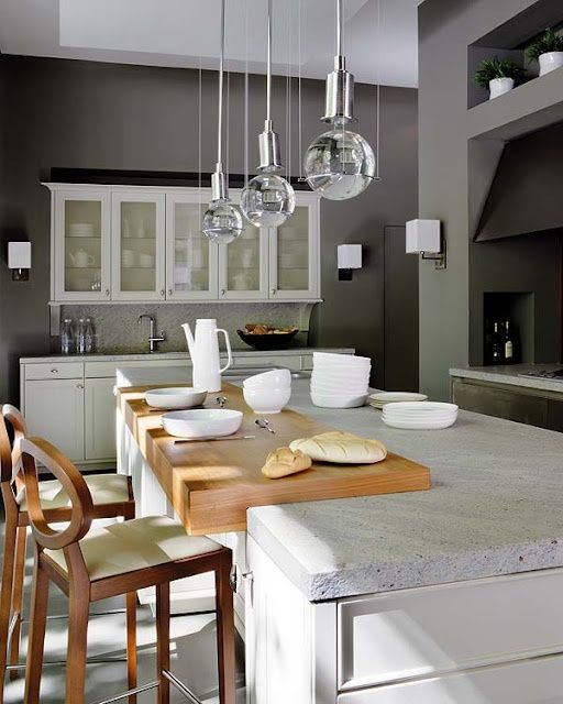 58 Cozy Wooden Kitchen Countertop Designs | DigsDigs... grey cabinets + concrete countertops