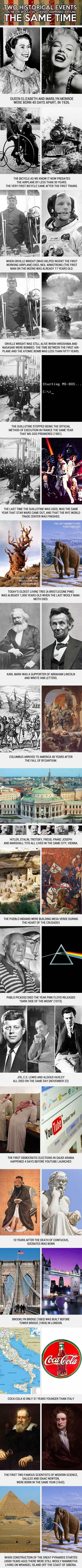 Here are some interesting examples of historical events that happened around the same time.