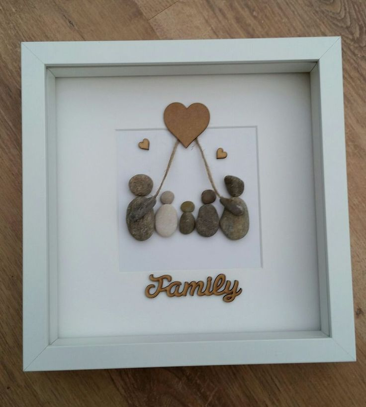 Beautiful box frame pebble art picture Family of 5 - with love heart All the pebbles come from local beaches around Ayrshire Box frame measures 23cm x 23cm and can be displayed freestanding or wall mounted All items will be securely boxed for shipping and will be sent via Royal Mail second class Please note all items are made to order so please allow 5-7 working days before despatch These frames are ideal for a special,unique gift and will mean a lot....... | eBay!