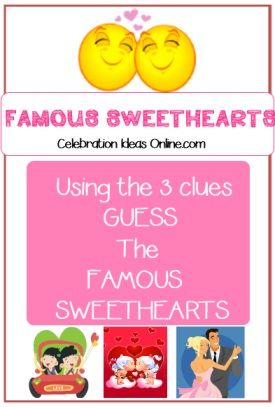 name the famous sweetheart based on 3 clues great icebreaker game perfect for church youth group parties team parties and more fun for valentines day or - Valentine Games For Church