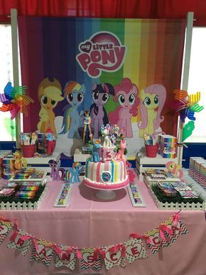 Check out this colorful My Little Pony Birthday Party! loving the birthday cake!! See more party ideas and share yours at CatchMyParty.com
