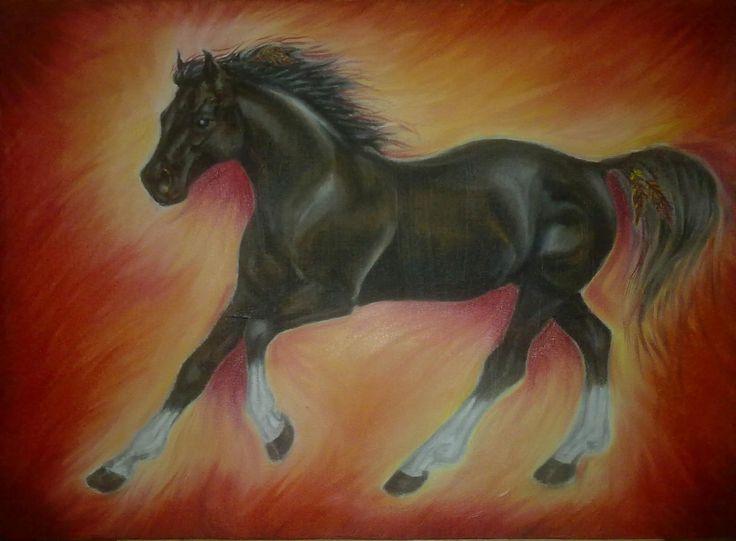 Apache Fire ~ Block Mounted Oil Painting by Dawn Du Preez #DawnDuPreez