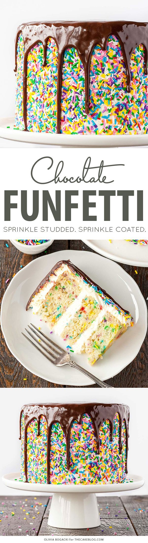 Funfetti Sprinkle Cake with Drippy Chocolate Ganache   by Olivia Bogacki for TheCakeBlog.com