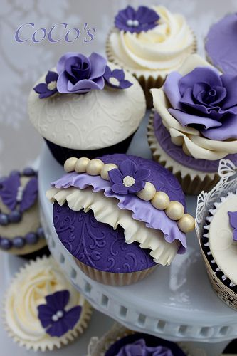 "Ivory and Purple Vintage Cupcakes! We can help achieve this look at Dallas Foam with cake dummies, cupcake stands and cakeboards. Just use ""2015pinterest"" as the item code and receive 10% off your first order @ www.dallas-foam.com. Like us on Facebook for more discount offers!"