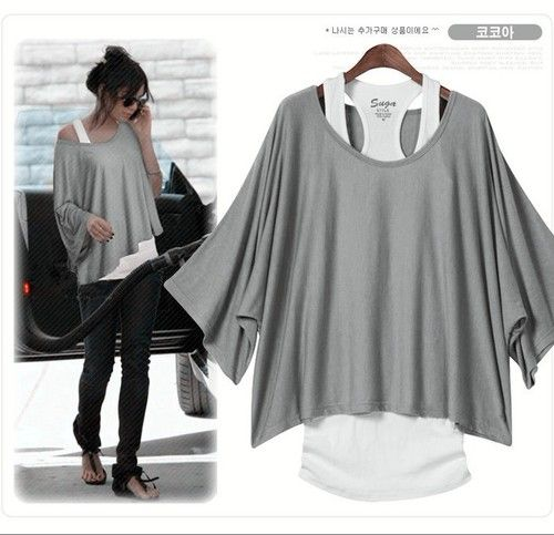 2 In 1 New Hot Short Sleeve Loose Tops Blouses T-shirt 4 Colors