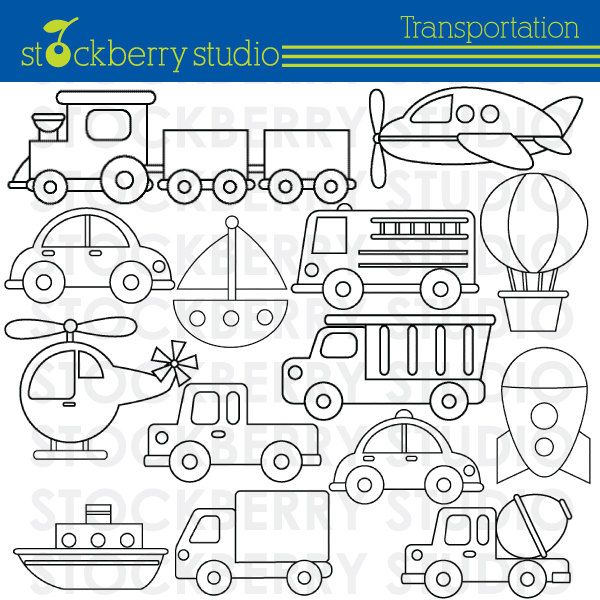 Transportation Clipart Plane Train and by stockberrystudio