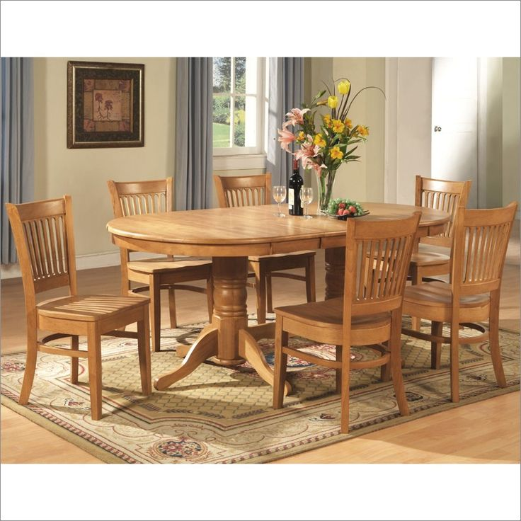 Wonderful East West Furniture 7 Piece Dining Room Set Dining Table With A Leaf And 6  Dining Chairs, As Shown