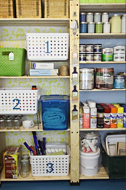 wow... the before and afters are incredible. but I LOVE this! love saving space by transfering paint to quart and pint jars - see how much and what colros you have... and the baskets keep everything else organized and close by. bins keep rollers dust free.