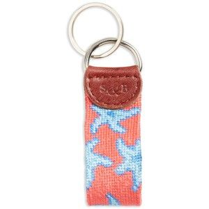 Men's Smathers & Branson 'Starfish' Needlepoint Key Fob